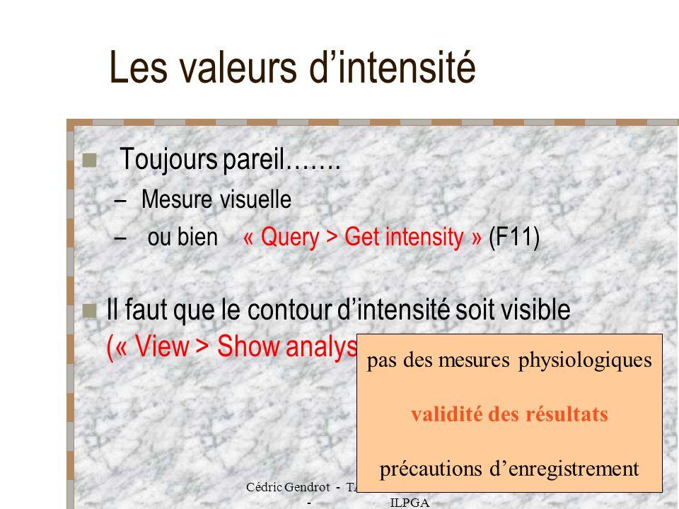 Cédric Gendrot - TAL SLOW 5 - 2003-2004 - ILPGA 57 Les valeurs dintensité Toujours pareil……. – Mesure visuelle – ou bien « Query > Get intensity » (F1