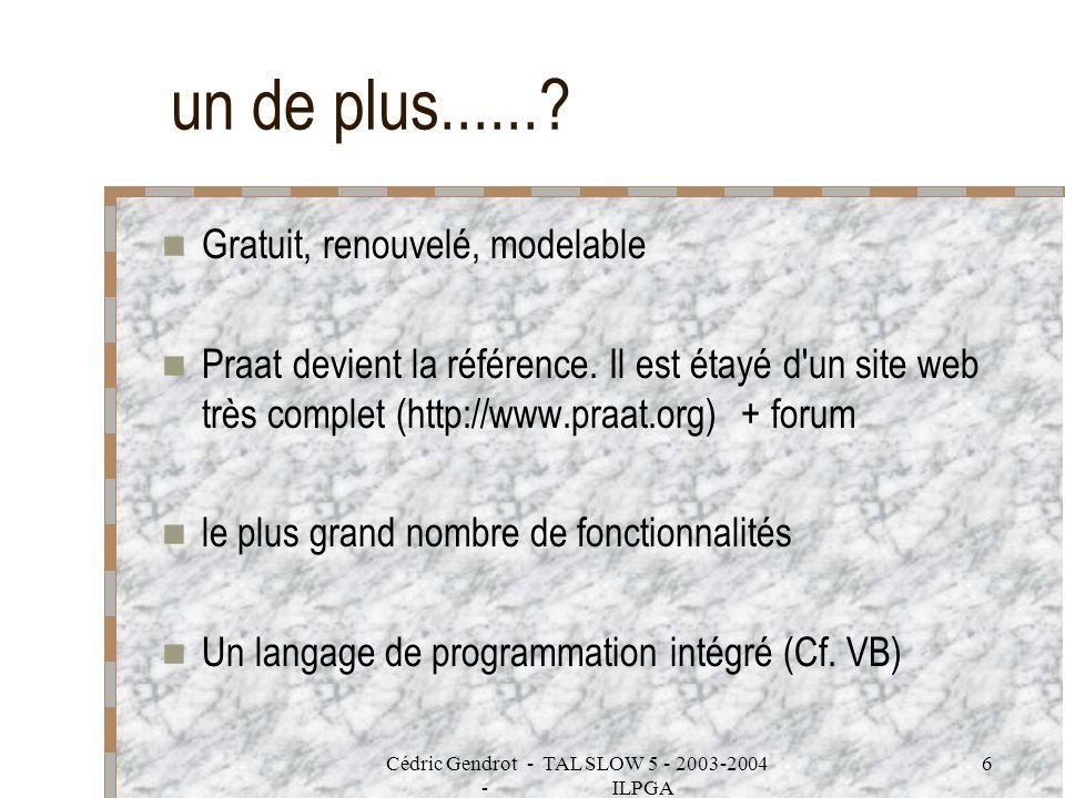 Cédric Gendrot - TAL SLOW 5 - 2003-2004 - ILPGA 6 un de plus......? Gratuit, renouvelé, modelable Praat devient la référence. Il est étayé d'un site w