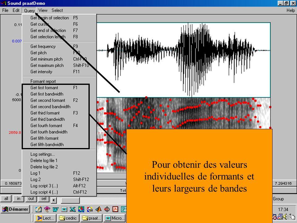 Cédric Gendrot - TAL SLOW 5 - 2003-2004 - ILPGA 66 Pour obtenir des valeurs individuelles de formants et leurs largeurs de bandes