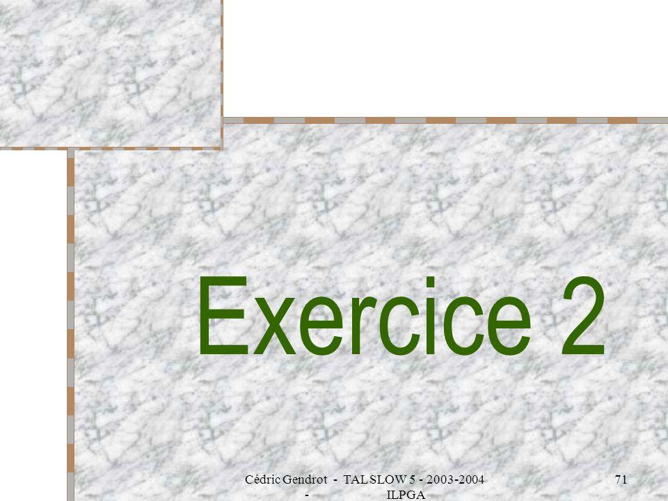 Cédric Gendrot - TAL SLOW 5 - 2003-2004 - ILPGA 71 Exercice 2
