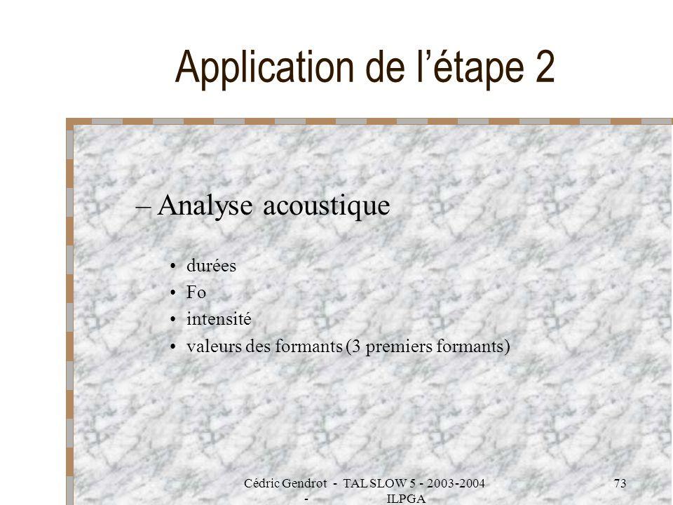 Cédric Gendrot - TAL SLOW 5 - 2003-2004 - ILPGA 73 Application de létape 2 –Analyse acoustique durées Fo intensité valeurs des formants (3 premiers fo