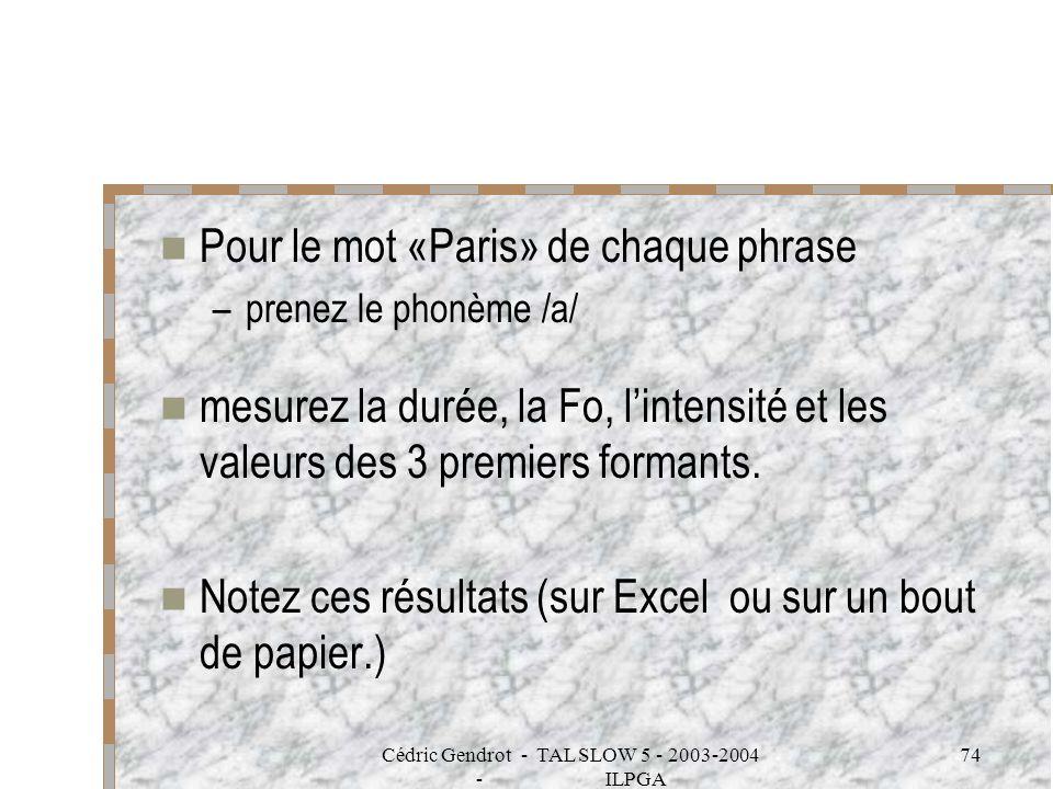 Cédric Gendrot - TAL SLOW 5 - 2003-2004 - ILPGA 74 Pour le mot «Paris» de chaque phrase –prenez le phonème /a/ mesurez la durée, la Fo, lintensité et