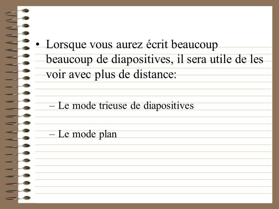 Le mode normal Cest le mode par défaut, celui que lon utilise pour écrire sa présentation. Diapo par diapo –menu déroulant à droite –page up / page do
