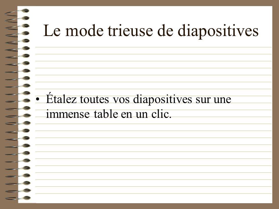 Lorsque vous aurez écrit beaucoup beaucoup de diapositives, il sera utile de les voir avec plus de distance: –Le mode trieuse de diapositives –Le mode