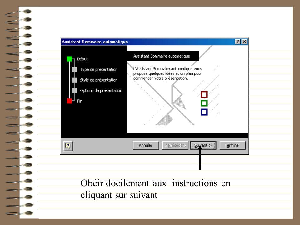 Les Premiers Pas Pour une première présentation, lassistant propose son aide Cliquez sur sommaire automatique puis OK