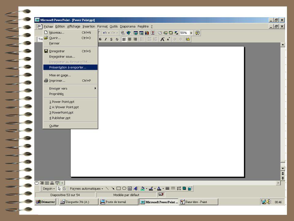 Si votre présentation est longue (les animations prennent de la place), elle dépassera peut-être la taille autorisée par une disquette. Pas de panique