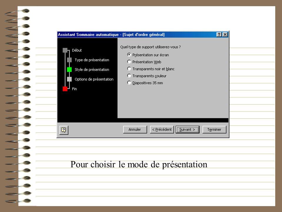Pour choisir parmi des mots clés le type de présentation que lon souhaite effectuer, le logiciel se charge ensuite de proposer un fond dimage ainsi qu