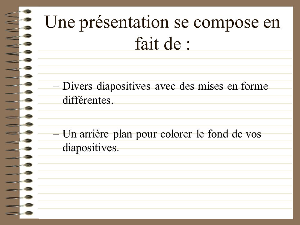 Créer Une Présentation Il vous est proposé alors de choisir une diapositive. La diapositive « titre » semble être un bon début...