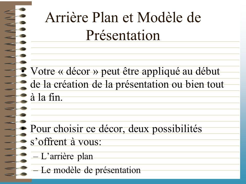 Une présentation se compose en fait de : –Divers diapositives avec des mises en forme différentes. –Un arrière plan pour colorer le fond de vos diapos