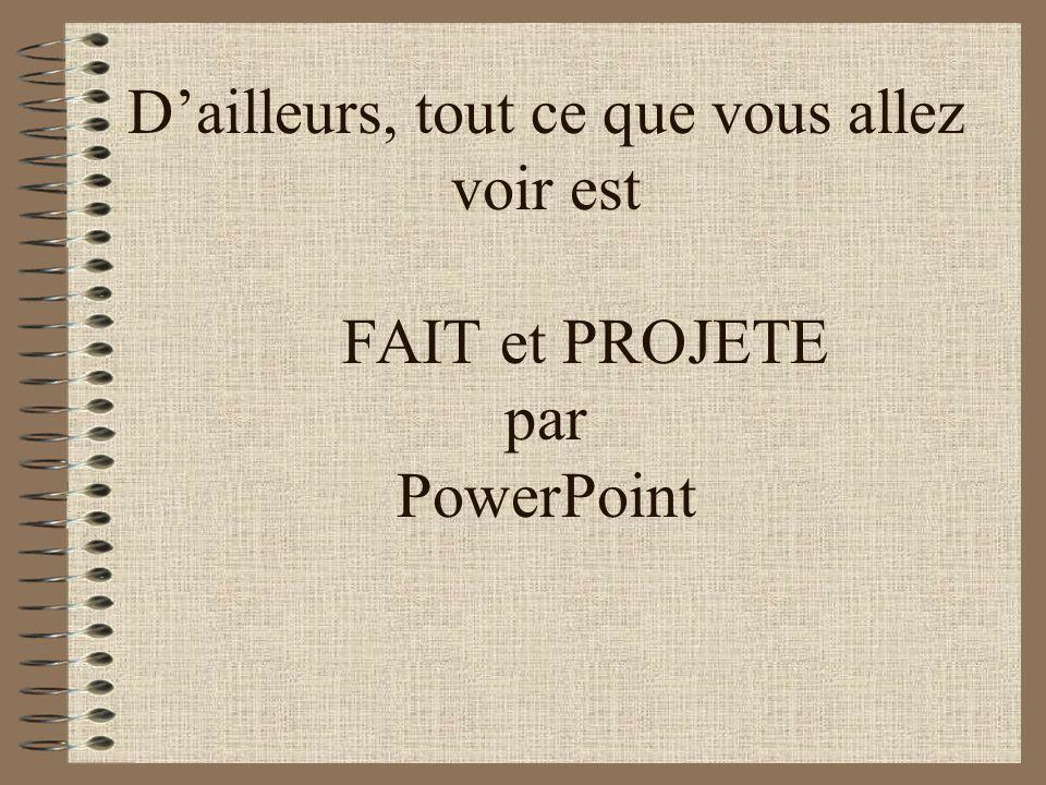 Utilité Le logiciel microsoft PowerPoint vous permettra de préparer des présentations électroniques qui pourront être projetées sur un mur ou un table