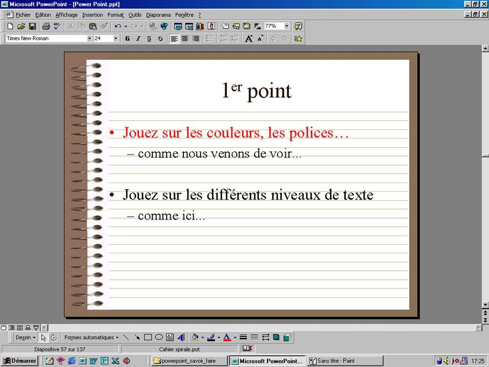 1 er point Jouez sur les couleurs, les polices… –comme nous venons de voir... Jouez sur les différents niveaux de texte –comme ici... Petite démonstra