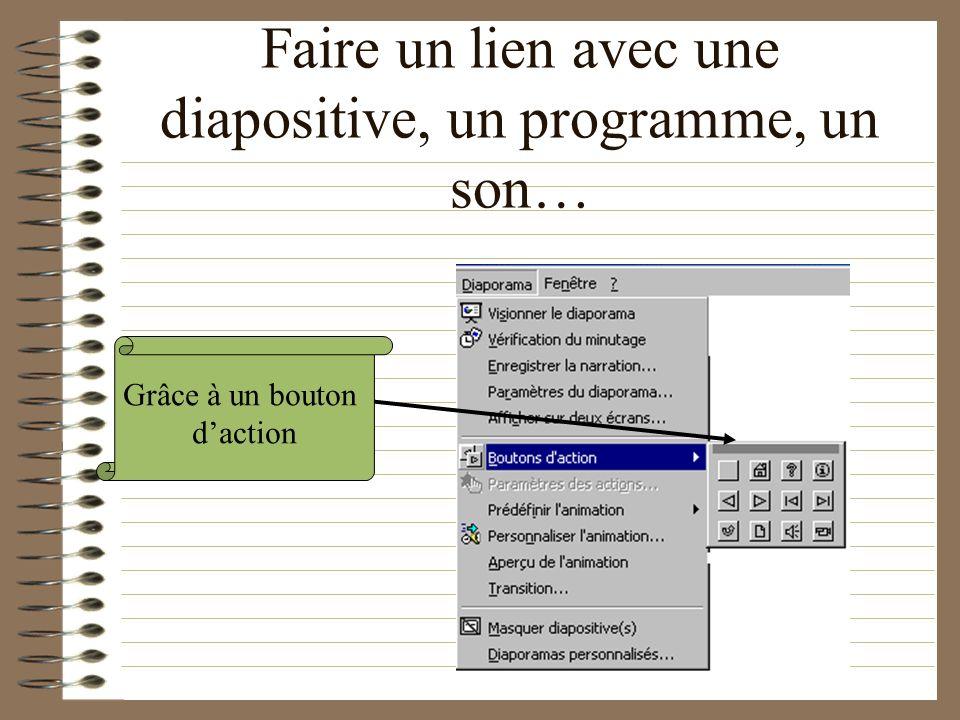 Les animations Faire un lien avec une diapositive, un programme, un son… Avoir des images qui bougent sur la diapositive Avoir son texte qui arrive au