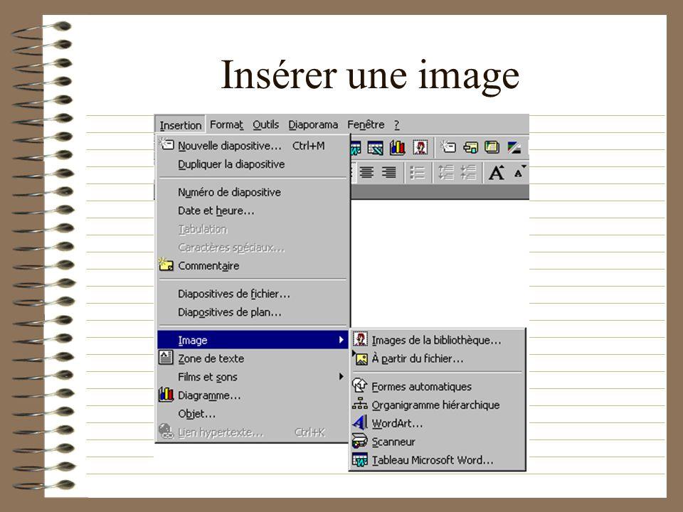 Faire des animations sur les diapositives Insérer une image Faire bouger limage Faire bouger le texte Mettre un son sur le texte ou limage Paramétrer