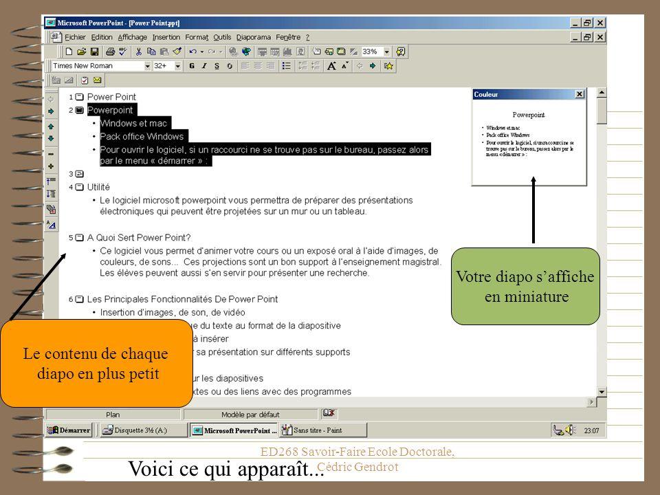 ED268 Savoir-Faire Ecole Doctorale, Cédric Gendrot Le mode plan Technique à maîtriser absolument autant sur Word que sur PowerPoint Elle permet de met