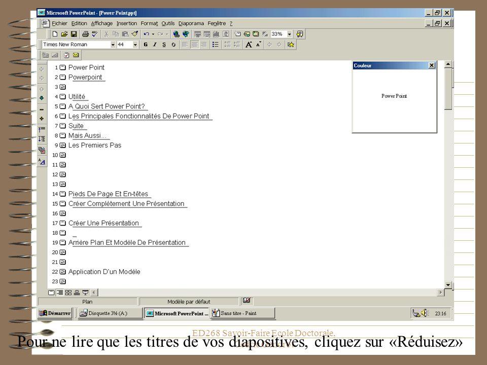 ED268 Savoir-Faire Ecole Doctorale, Cédric Gendrot Pour ne lire que les titres de vos diapositives, cliquez sur «Réduisez»