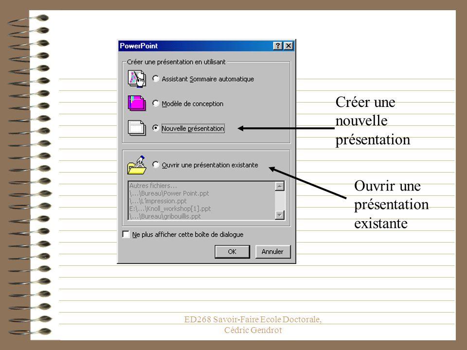 ED268 Savoir-Faire Ecole Doctorale, Cédric Gendrot Créer Complètement Une Présentation Si vous ne voulez pas utiliser lassistant, il est possible de c