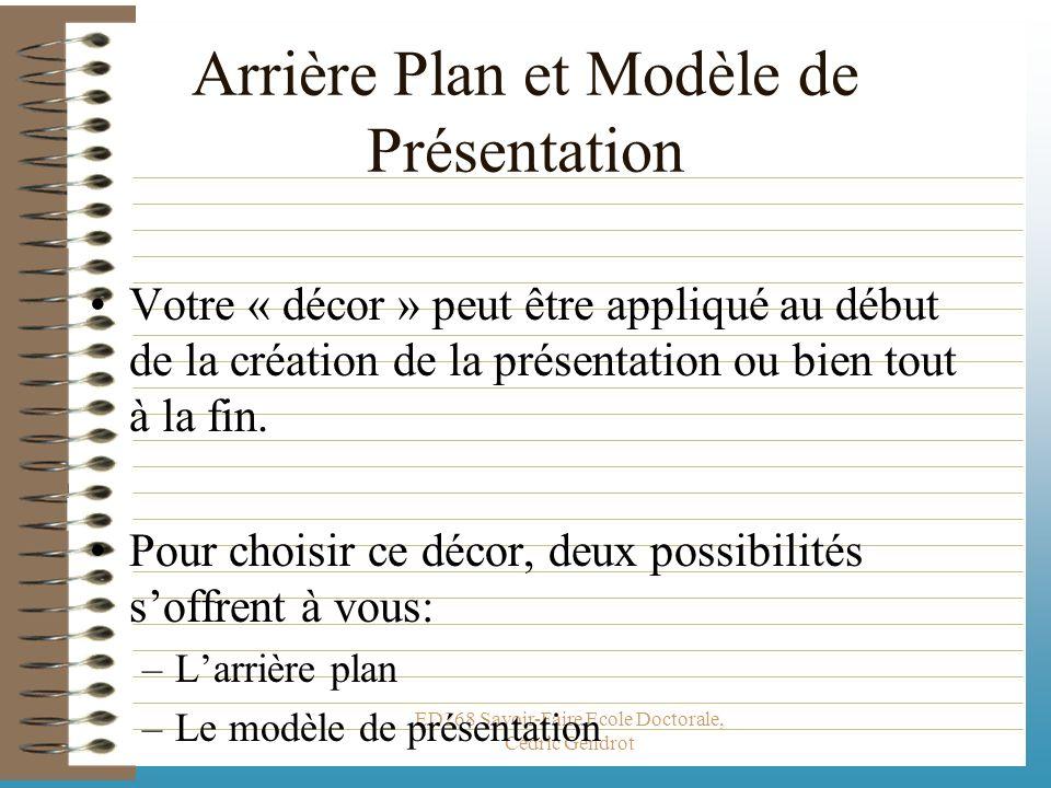 ED268 Savoir-Faire Ecole Doctorale, Cédric Gendrot Une présentation se compose en fait de : –Divers diapositives avec des mises en forme différentes.