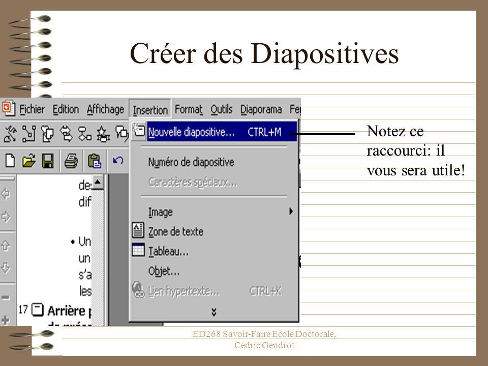 ED268 Savoir-Faire Ecole Doctorale, Cédric Gendrot La Présentation Enfin... Il va falloir écrire plus que le titre… On va donc créer de nouvelles diap