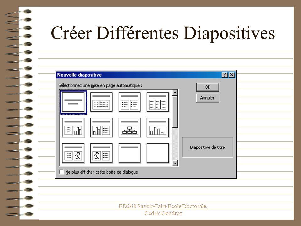 ED268 Savoir-Faire Ecole Doctorale, Cédric Gendrot Créer des Diapositives Notez ce raccourci: il vous sera utile!