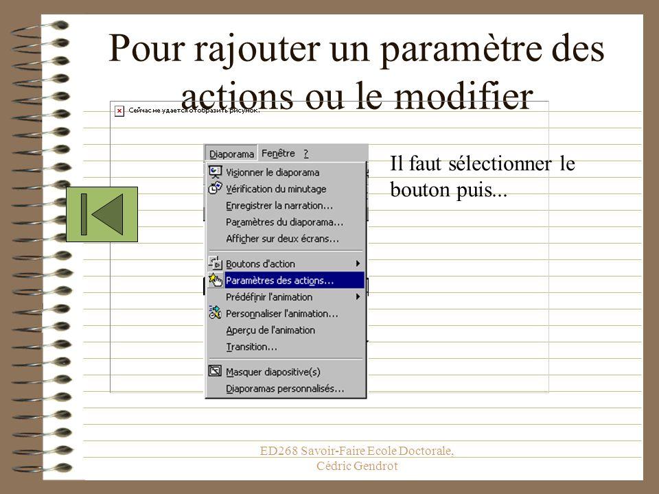 ED268 Savoir-Faire Ecole Doctorale, Cédric Gendrot Activer un son
