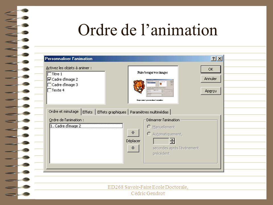 ED268 Savoir-Faire Ecole Doctorale, Cédric Gendrot Faites bouger vos images Diaporama – personnaliser lanimation