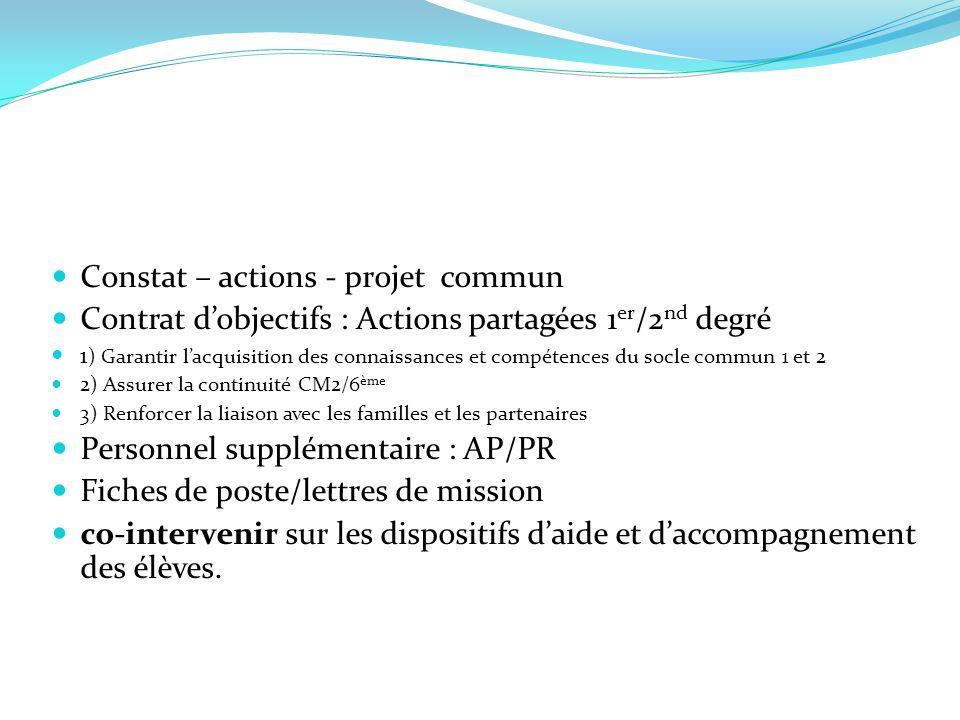 Constat – actions - projet commun Contrat dobjectifs : Actions partagées 1 er /2 nd degré 1 ) Garantir lacquisition des connaissances et compétences d