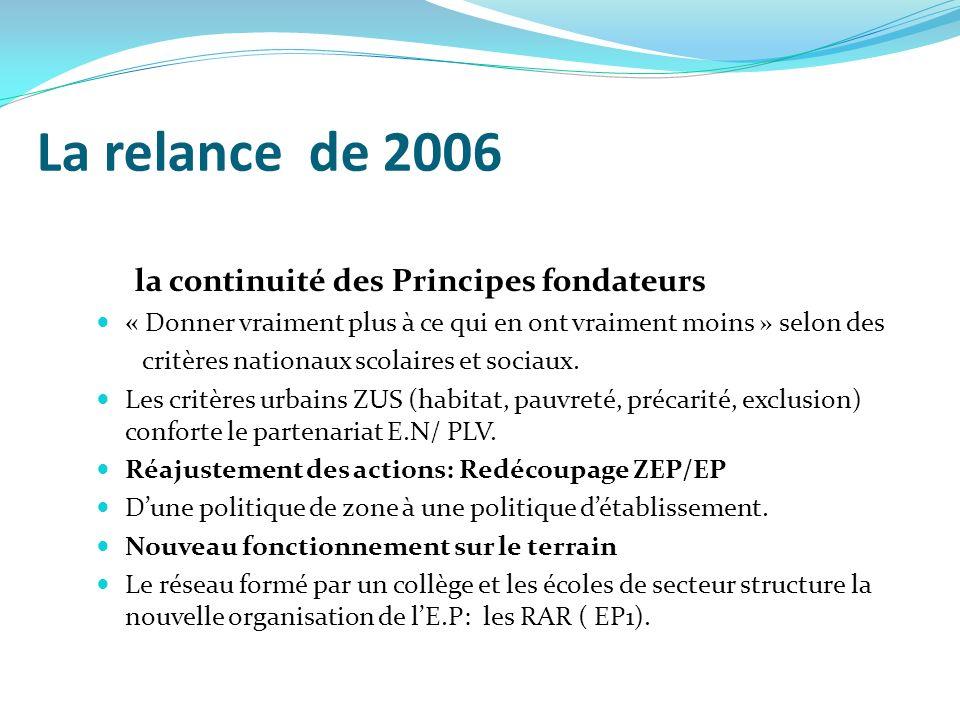 La relance de 2006 la continuité des Principes fondateurs « Donner vraiment plus à ce qui en ont vraiment moins » selon des critères nationaux scolair
