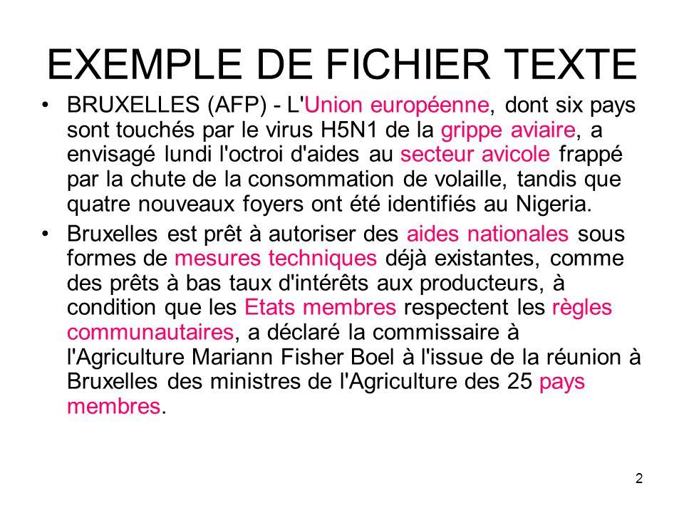 2 EXEMPLE DE FICHIER TEXTE BRUXELLES (AFP) - L'Union européenne, dont six pays sont touchés par le virus H5N1 de la grippe aviaire, a envisagé lundi l
