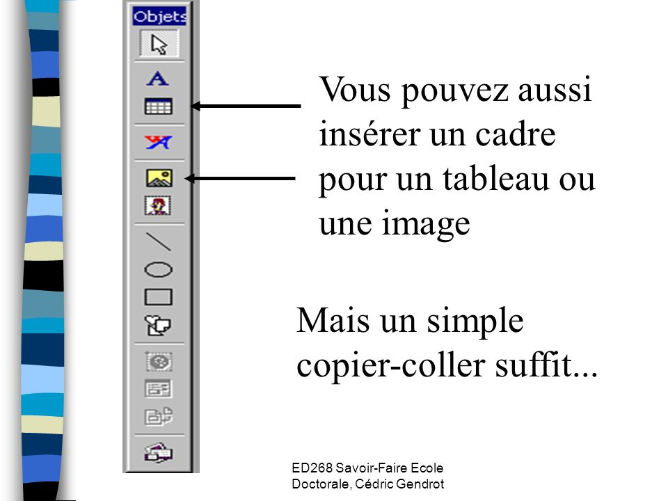 ED268 Savoir-Faire Ecole Doctorale, Cédric Gendrot Vous pouvez aussi insérer un cadre pour un tableau ou une image Mais un simple copier-coller suffit