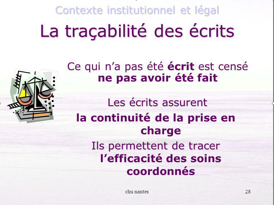 chu nantes27 Contexte institutionnel et légal La traçabilité des écrits La traçabilité des écrits Les critères de qualité Lisibles Lisibles Indélébile