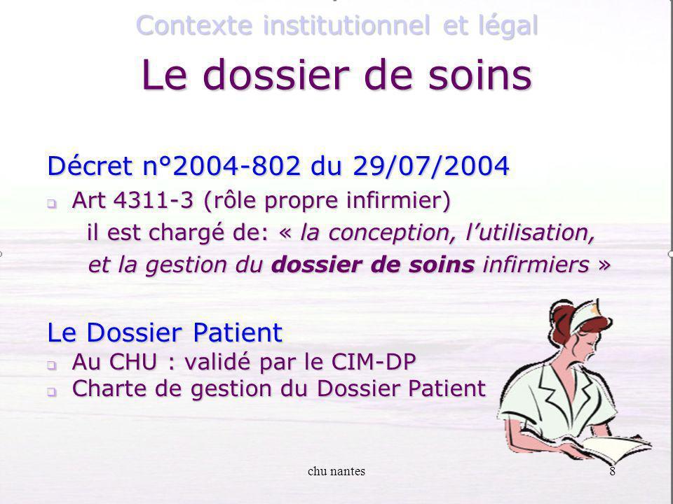 8 Décret n°2004-802 du 29/07/2004 Art 4311-3 (rôle propre infirmier) Art 4311-3 (rôle propre infirmier) il est chargé de: « la conception, lutilisation, il est chargé de: « la conception, lutilisation, et la gestion du dossier de soins infirmiers » et la gestion du dossier de soins infirmiers » Le Dossier Patient Au CHU : validé par le CIM-DP Au CHU : validé par le CIM-DP Charte de gestion du Dossier Patient Charte de gestion du Dossier Patient Contexte institutionnel et légal Le dossier de soins