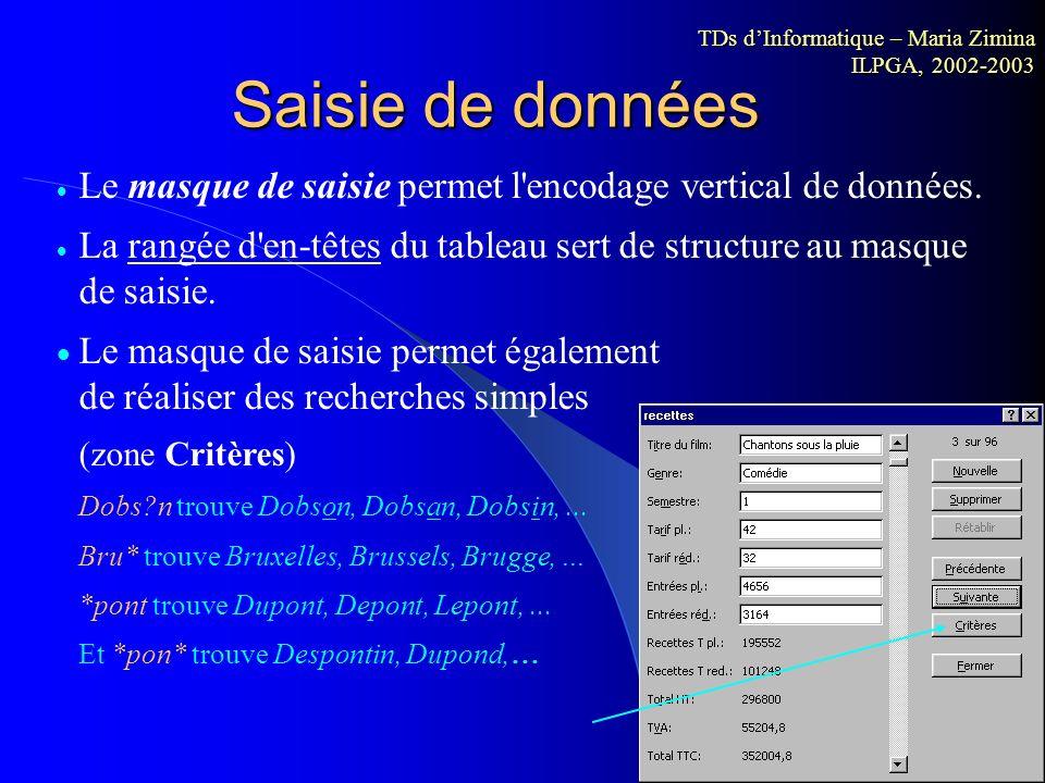 Importation de données Conversions des fichiers Importation de données Conversions des fichiers *.txt *.xls *.xls *.txt TDs dInformatique – Maria Zimi