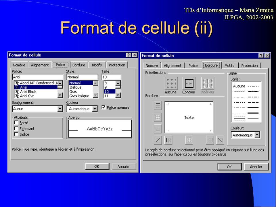 Format de cellule (i) TDs dInformatique – Maria Zimina ILPGA, 2002-2003