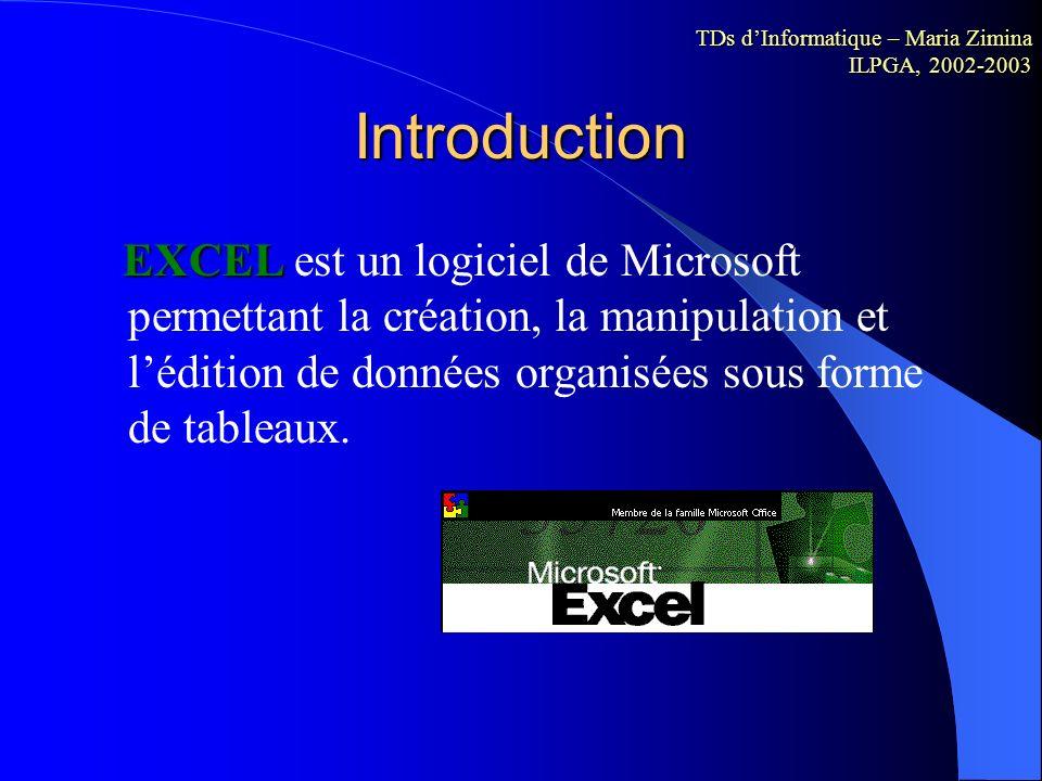 Microsoft Excel Utilisation de Microsoft Excel Maria ZIMINA Systèmes linguistiques, énonciation et discursivité (SYLED - EA 2290) ILPGA, 2002-2003 Un