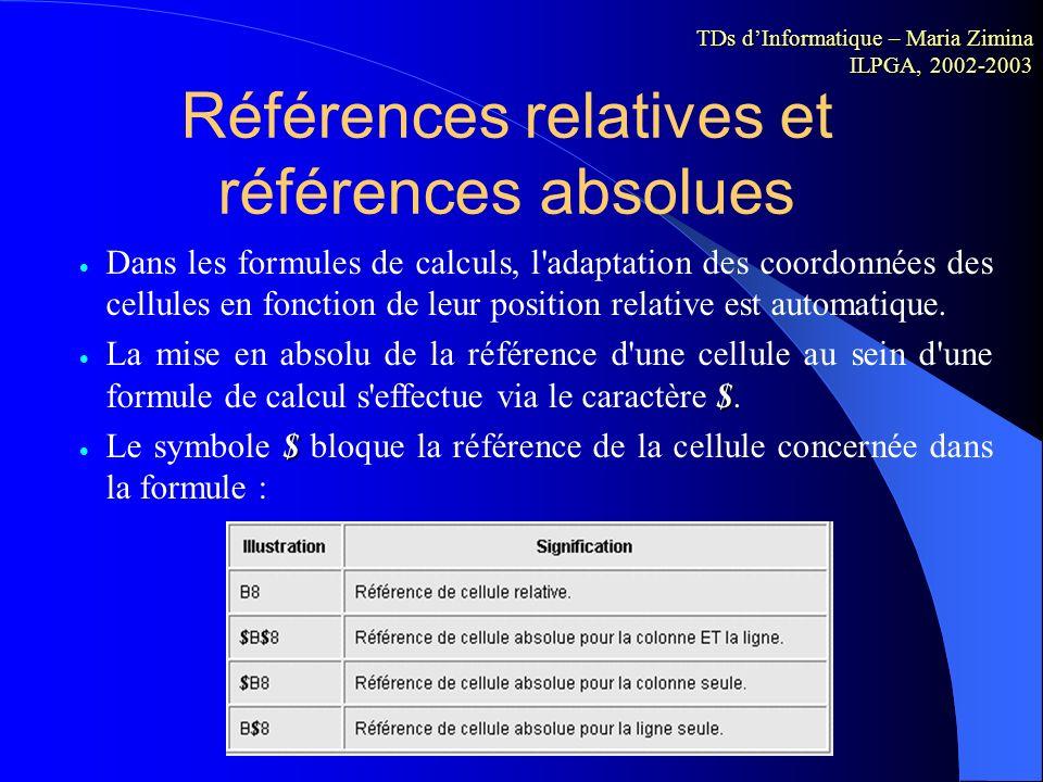 Exécution d un calcul (ii) Pour répéter une formule dans plusieurs cellules adjacentes, cliquez sur la partie inférieure droite de la cellule contenan