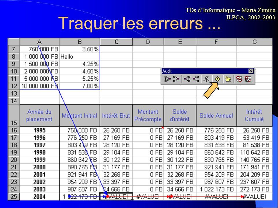 Utilisation de fonctions Excel Excel propose différentes catégories de fonctions pour satisfaire un large panel d'utilisateurs. TDs dInformatique – Ma