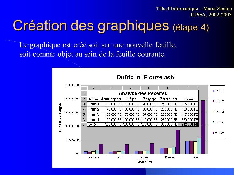 Création des graphiques (étape 3) 4 titres sont accessibles selon le type de graphique sélectionné : le titre général du graphique, le titre de l'axe