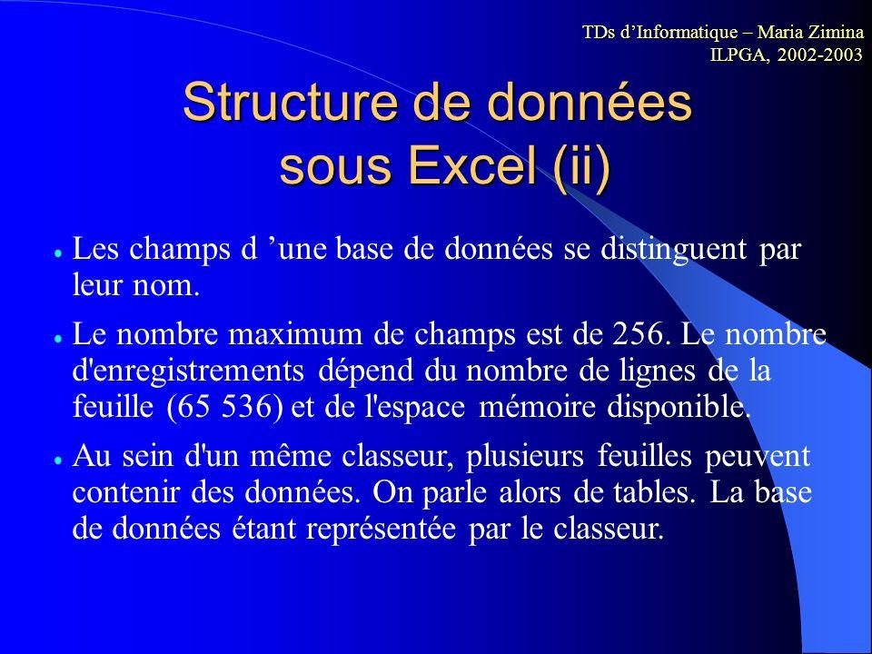 Structure de données sous Excel (i) Une base de données est composée d'enregistrements. Chaque enregistrement est subdivisé en champs. Dans Excel, les