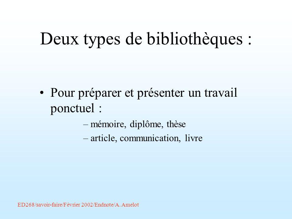 ED268/savoir-faire/Février 2002/Endnote/A. Amelot Deux types de bibliothèques : Pour préparer et présenter un travail ponctuel : –mémoire, diplôme, th