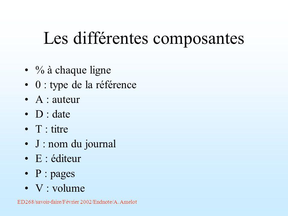 ED268/savoir-faire/Février 2002/Endnote/A. Amelot Les différentes composantes % à chaque ligne 0 : type de la référence A : auteur D : date T : titre