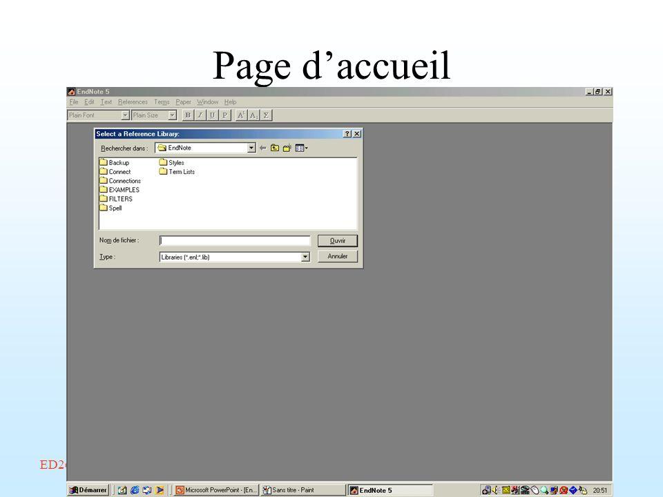 ED268/savoir-faire/Février 2002/Endnote/A. Amelot Page daccueil