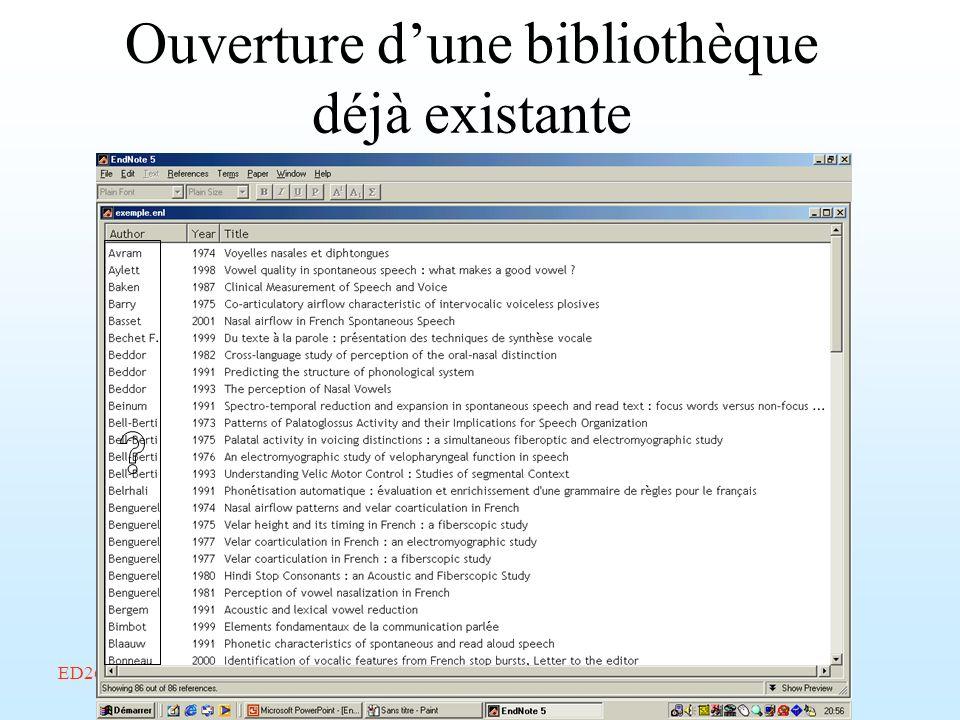 ED268/savoir-faire/Février 2002/Endnote/A. Amelot Ouverture dune bibliothèque déjà existante