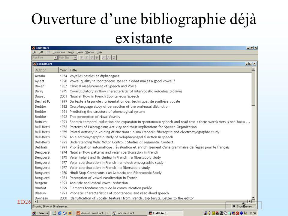 ED268/savoir-faire/Février 2002/Endnote/A. Amelot Ouverture dune bibliographie déjà existante
