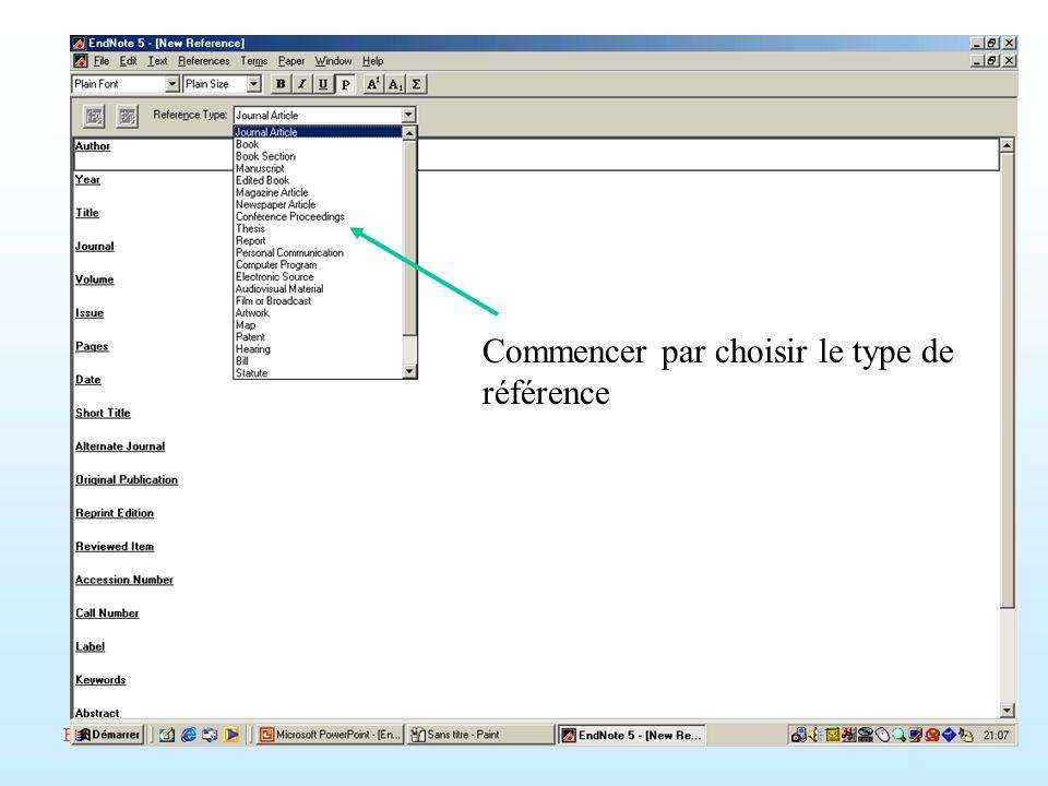 ED268/savoir-faire/Février 2002/Endnote/A. Amelot Commencer par choisir le type de référence