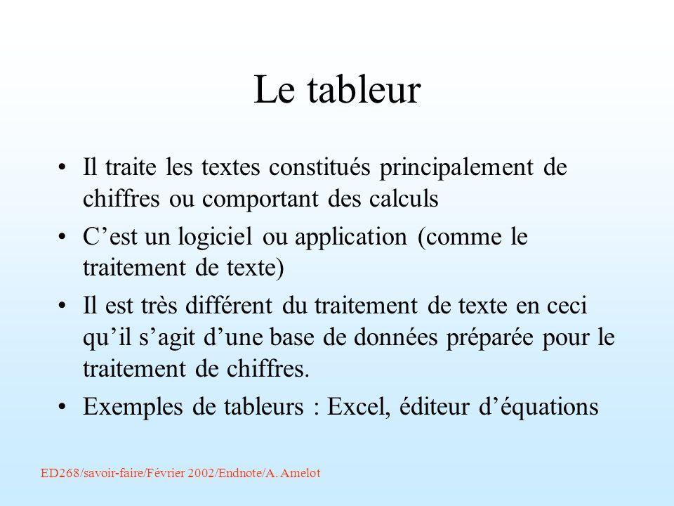 ED268/savoir-faire/Février 2002/Endnote/A. Amelot Le tableur Il traite les textes constitués principalement de chiffres ou comportant des calculs Cest