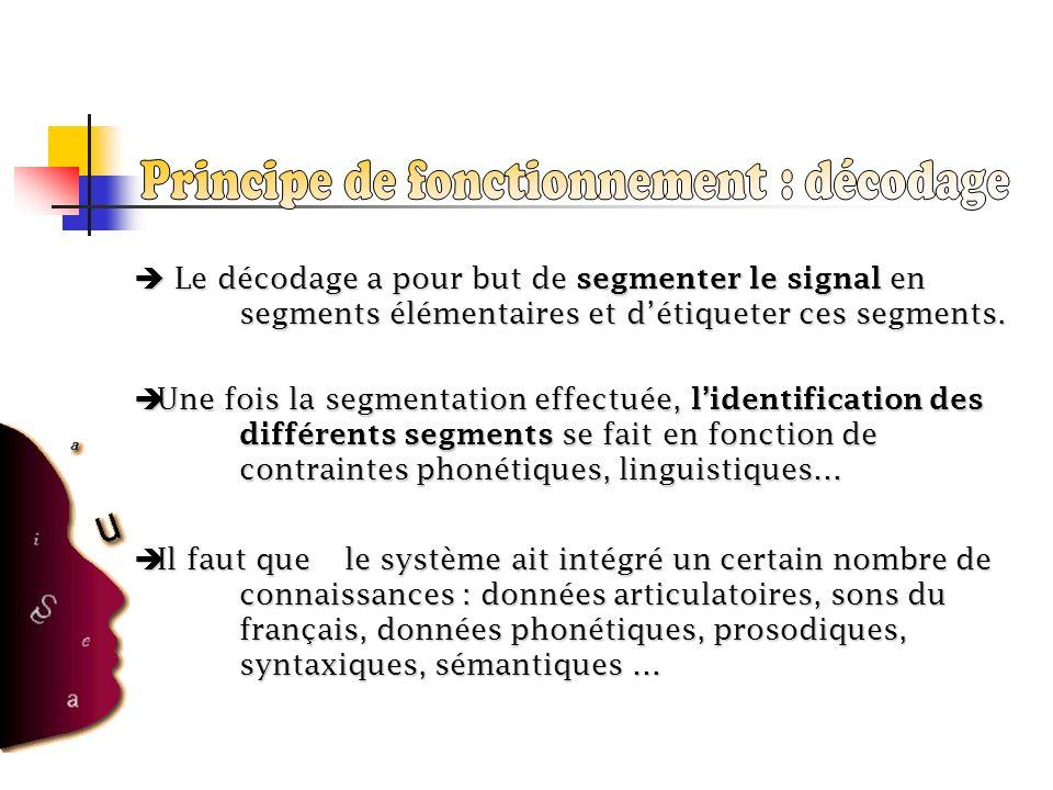 Le décodage a pour but de segmenter le signal en segments élémentaires et détiqueter ces segments. Le décodage a pour but de segmenter le signal en se