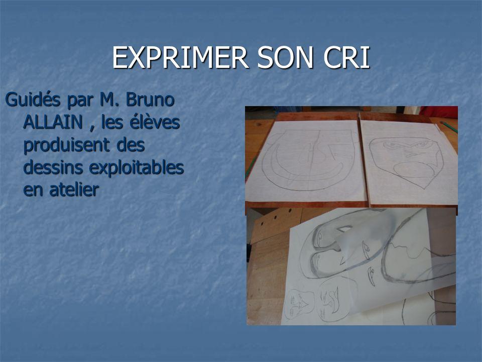 EXPRIMER SON CRI Guidés par M. Bruno ALLAIN, les élèves produisent des dessins exploitables en atelier