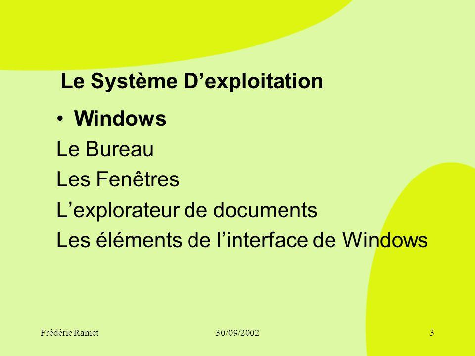 Frédéric Ramet30/09/20023 Le Système Dexploitation Windows Le Bureau Les Fenêtres Lexplorateur de documents Les éléments de linterface de Windows
