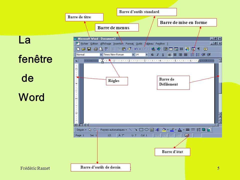 Frédéric Ramet30/09/20024 2) Les Fonctions De Word Barre D'outils et Barre Des Menus Utilisation du clavier et de la souris Éléments de linterface de