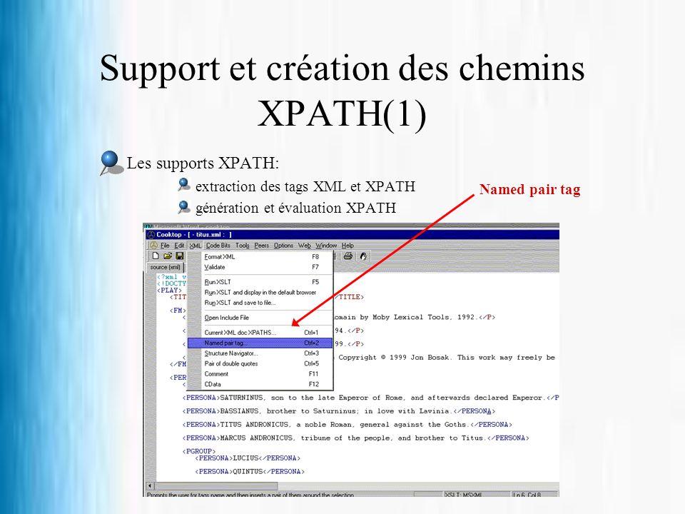 Support et création des chemins XPATH(1) Les supports XPATH: extraction des tags XML et XPATH génération et évaluation XPATH Named pair tag